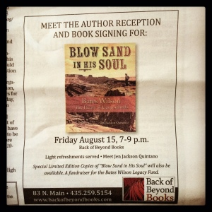 An ad for Andy's event at Back of Beyond Books.